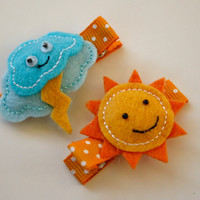 Set of 2 Supercute Weather Rainy and Sunny by SaraOlsenDesigns