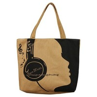 JAVOedge Music Headphone Canvas Shoulder Tote Bag with Zipper Closure and Free Travel Cosmetic Bag / Organizer Bag