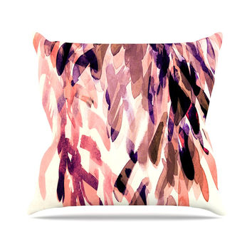 "Iris Lehnhardt ""Abstract Leaves I"" Orange Brown Throw Pillow"