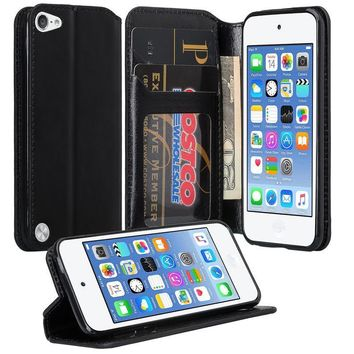 iPod Touch 5 / Ipod Touch 6 Wallet Case, Slim Strap Flip Folio [Kickstand] Pu Leather Wallet Case with ID & Credit Card Slots - Black