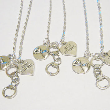 3 Partners In Crime Handcuff Pinky Promise Heart Best Friend Necklaces BFF SISTERS COUPLES