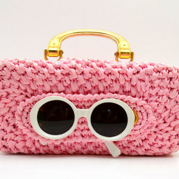 Vintage Pink Straw Purse with White Sunglasses, Snap On Holder for Glasses, Gold Tone Hardware, Raffia Handbag, Made in Italy, circa 1960s