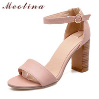 Meotina Fashion Shoes Women Sandals Summer Open Toe Ankle Strap Chunky High Heels White Pink Ladies Shoes Big Size 9 10 43