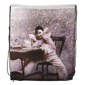 Vintage 1895 Pink Sparkle Clown Drawstring Backpack