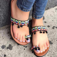 Boho Ethnic Tribal Sandals Black with Pompoms