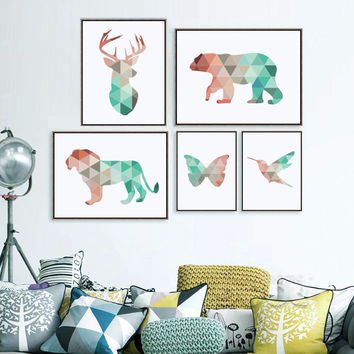 Geometric Animals Canvas Art Print Painting Poster, Giclee Print Wall Pictures For Home Decoration, Wall Decor FA237