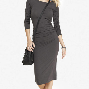 GRAY RUCHED STRETCH KNIT MIDI DRESS from EXPRESS