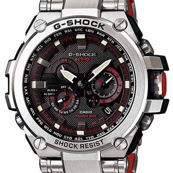 Casio G-Shock Solar Triple-G Atomic - Black Dial - Stainless Steel - Red Accents