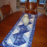 Blue Ribbon Twist quilted Table Runner