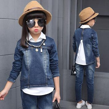 Spring 2017 Girls Denim Clothing Sets Autumn Children 3 Pieces Pullover Long Sleeve Coat and Long Pant and White Blouse 110-160