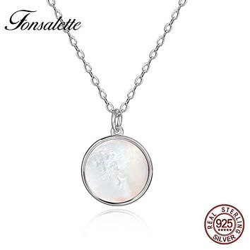 Vintage Sterling Silver White Shell Pendant Necklace Round Natural Mother of Pearl Necklaces Woman Girls Jewelry Gift ZK30