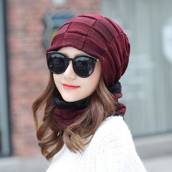 2018 Plaid Beanies With Scarf Knitted Hat Women's Winter Hats For Men Caps Warm Fluff Winter Beanie Fleece Knit Bonnet Hats