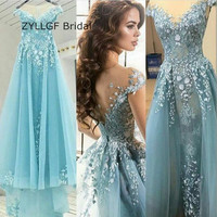 ZYLLGF Bridal Latest Design Sexy Sheer Arabian Prom Dress High Quality Long Cap Sleeve Prom Evening Dress With Appliques SA120