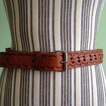 Tooled Leather Belt, Engraved Belt, Embossed Leather Hippie Belt, Bohemian Gypsy Festival Belt, Hipster Ethnic Boho Style 70s Waist Cincher