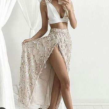 Two Piece Prom Dress White top Gold Glittery Skirt