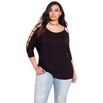 2018  New 6XL Plus Size Women Clothing Casual Top Solid Black O-Neck Cold shoulder Tees Hollow Out Loose T-shirt 3XL 4XL 5XL