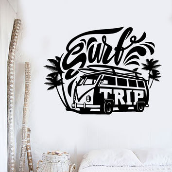 Vinyl Wall Decal Surf Trip Hippie Car Surfing Relax Stickers Mural Unique Gift (ig4320)