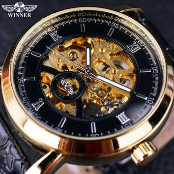 T-Winner GMT913 Golden Bezel Black Dial Dress Men Watches Luxury Automatic Watch Mechanical Skeleton Men Wristwatches Clock