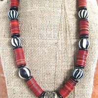 Tribal Black White and Red Necklace Large Vintage Nepal Striped Glass Beads with Vintage Red Phono Disk Beads Ethnic African Jewelry