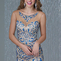 Short Beaded Illusion Sweetheart Dress by Madison James