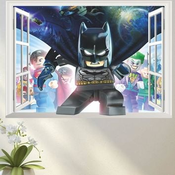 Batman Dark Knight gift Christmas 3d false window children hero batman carton wall sticker decorative kids baby nursery bedroom home decor decal poster gift AT_71_6