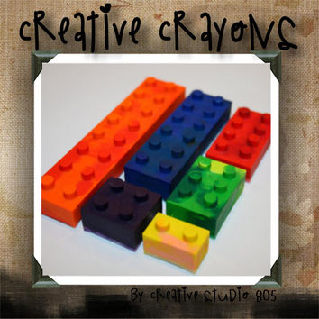 LEGO BLOCKS - shaped crayons - birthday party favors - baby shower favors - christmas stocking stuffers
