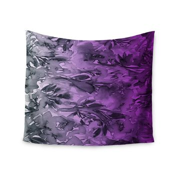 """Ebi Emporium """"Forever Flowers, Purple Ombre"""" Purple Gray Watercolor Wall Tapestry"""