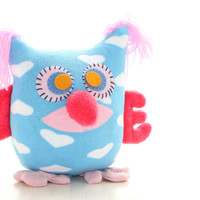 Personalized Owl Tooth Fairy Pillow - blue with pink Wings Ready to Ship