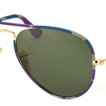 Ray Ban Aviator Full Color RB 3025JM 172 Purple Grey Camo Sunglasses Green 58mm