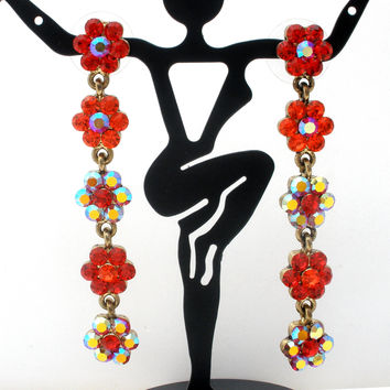 Red Rhinestone Flower Dangle Pierced Earrings