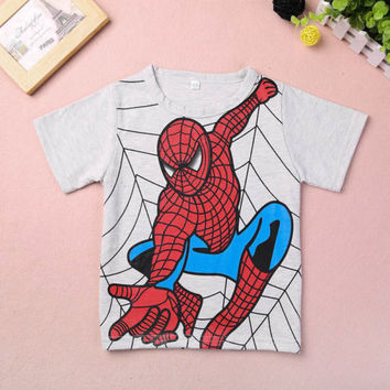 2015 New Kids Boys Girls Spiderman T-shirt Children Short Sleeve Top 2-7 Y