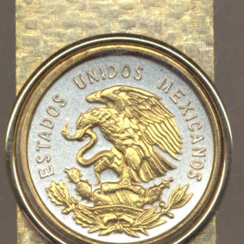 Gorgeous 2-Toned Gold on Silver Mexican Eagle,  Quarter size Coin - Money clips