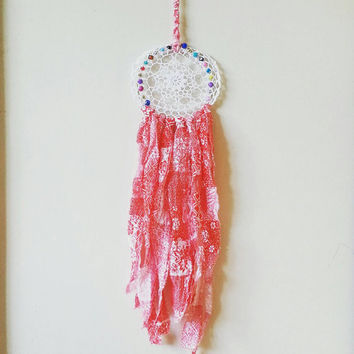 Dream Catcher, Wall Hanging, Red Floral, Wall Accent, Hippie Style, Boho Decor, Nursery Decor, Bohemian bedroom decor ideas, Home and Living