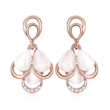 18K Rose Gold Triple Pearl Drop Down Earrings Made with Swarovksi Elements