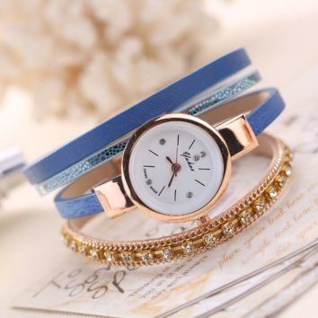 The New Women's Bracelet Crystal Quartz Watch In 5 Colors
