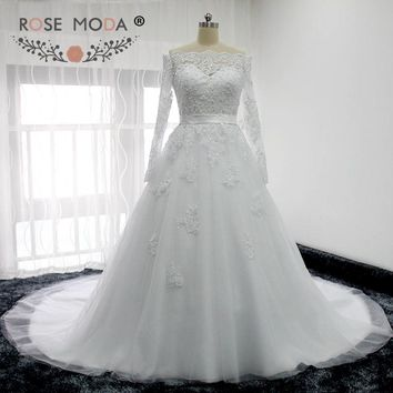 Rose Moda Boat Neck Long Sleeves Lace Wedding Dress with Removable Bow Illusion Back Plus Size Wedding Dresses