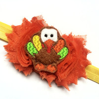 First Thanksgiving Baby Headband - Turkey Headband for Girls - Toddler Turkey Day Headband - Fall Headband Photo Prop for Baby
