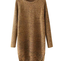 Long Sleeve Long Sweater with Side Slits