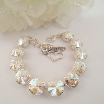 Swarovski crystal bracelet, 12mm moonlight stones, designer inspired, wedding bridal, earrings,