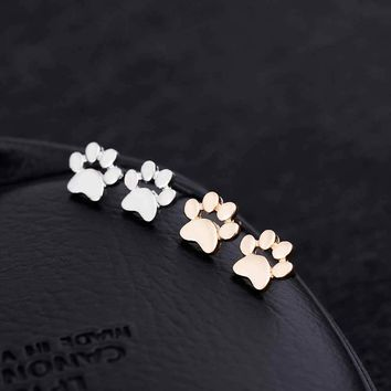 TOMTOSH Cute Paw Print Earrings for Women Cat and Dog Paw Stud Earrings