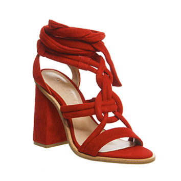 Office Ava Knotted Sandals Red Suede - High Heels