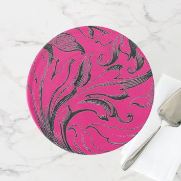 HOT PINK & BLACK SWIRL WEDDING CAKE STAND
