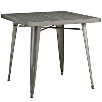Alacrity Square Industrial Vibe Gunmetal Dining Table