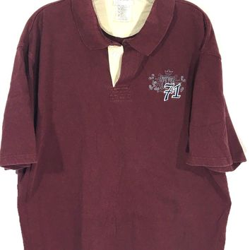 Walt Disney World Embroidered 71 Mickey Crest Logo Polo Maroon Red Shirt Mens XL - Preowned