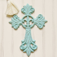Fleur de lis Cast Iron Cross, Choose your Color, Cast Iron Wall Cross, Wall Cross, Decorative Wall Cross, Religious Wall Decor, Fleur de lis