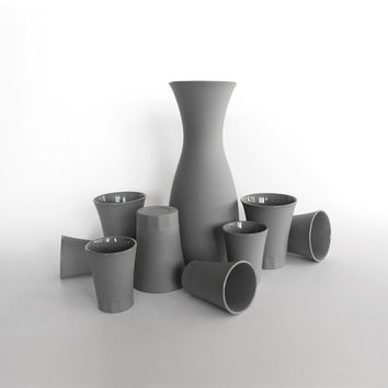POSITANO collection [set 1 carafe + 4 water cups + 4 espresso cups] Light grey porcelain