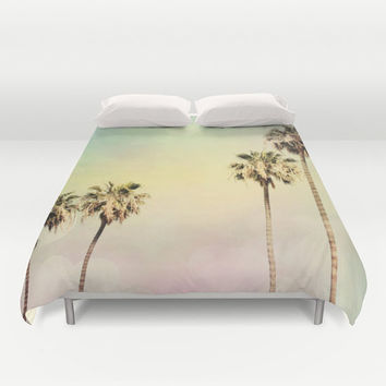 Art Duvet Cover Palm Trees 2 fine art photography home decor bedding bedroom bed pink yellow aqua blue light mint green pastel modern