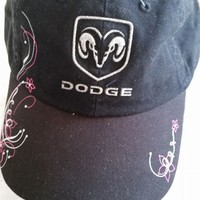 DODGE Logo with glitter for Ladies Black Ball cap w/tags