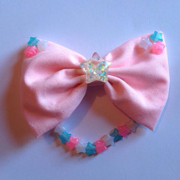 Fairy Kei Glitter Star Hair Bow Hairbow Resin Confetti Dangling Pastel Blue Pink Kawaii Stars Sweet Lolita Cute Decora