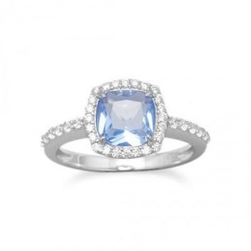 Rhodium Plated Light Blue Glass Ring with Clear CZs